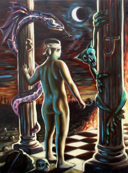 A pintura tenta passar a sensação do iniciado durante a iniciação, com todos os sentimentos.