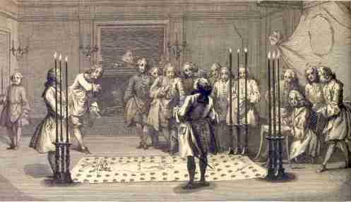 Na gravura, a loja se prepara para receber o companheiro maçom a ser exaltado no grau de mestre.