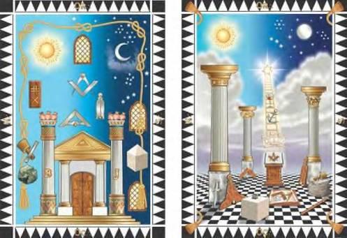 O painel de loja(disposição das ferramentas ritualísticas, e o painel do grau(significação simbólica)