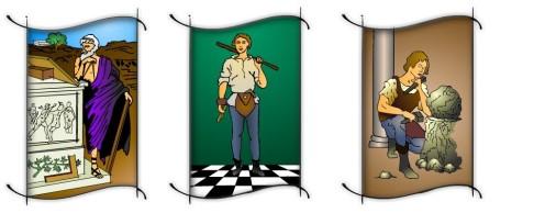 As figuras em ordem, representam; 1-mestre maçom(Hiram Abiff), 2-companheiro maçom, 3-aprendiz maçom.
