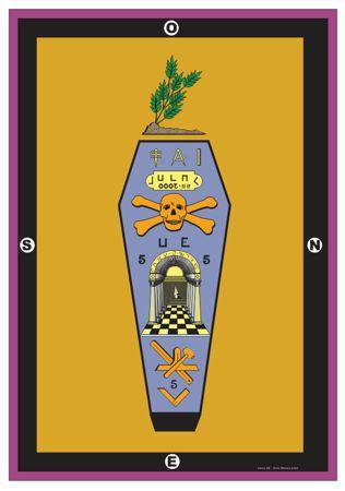 Painel do grau de mestre maçom, o esquife de Hiram sob um ramo de acácia, nota-se a presença do numero cinco o numero do homem, 3 vezes.