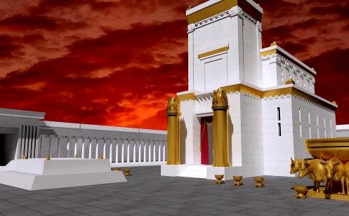 O cenário do caso, é o templo inacabado de jerusalem.