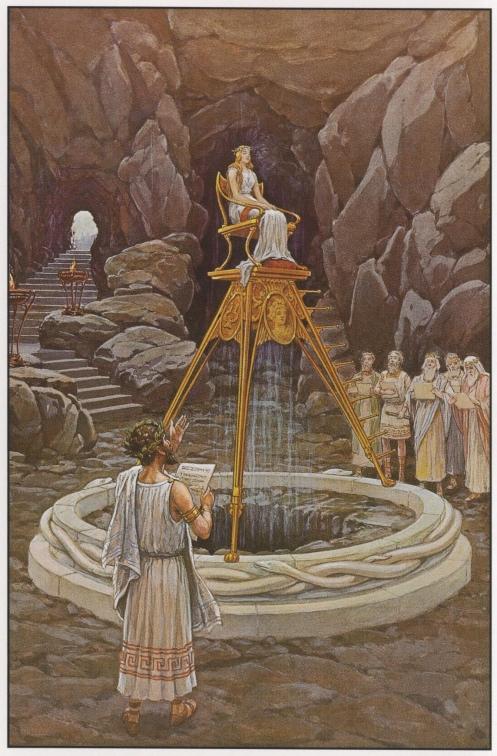 Socrates e a Sacerdotisa do templo de Apolo em Delfos, conhece te a ti mesmo.