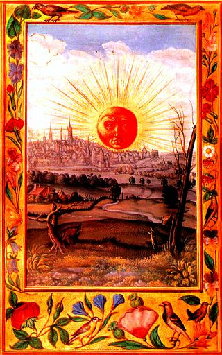 Splendor_Solis_22_sun_rising_over_city